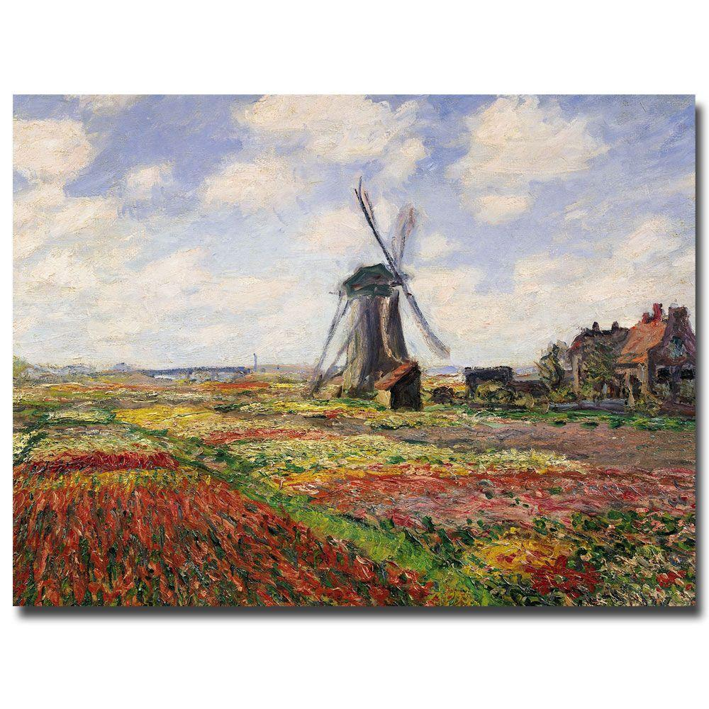 14 in. x 18 in. Tulip Fields in Holland, 1886 Canvas