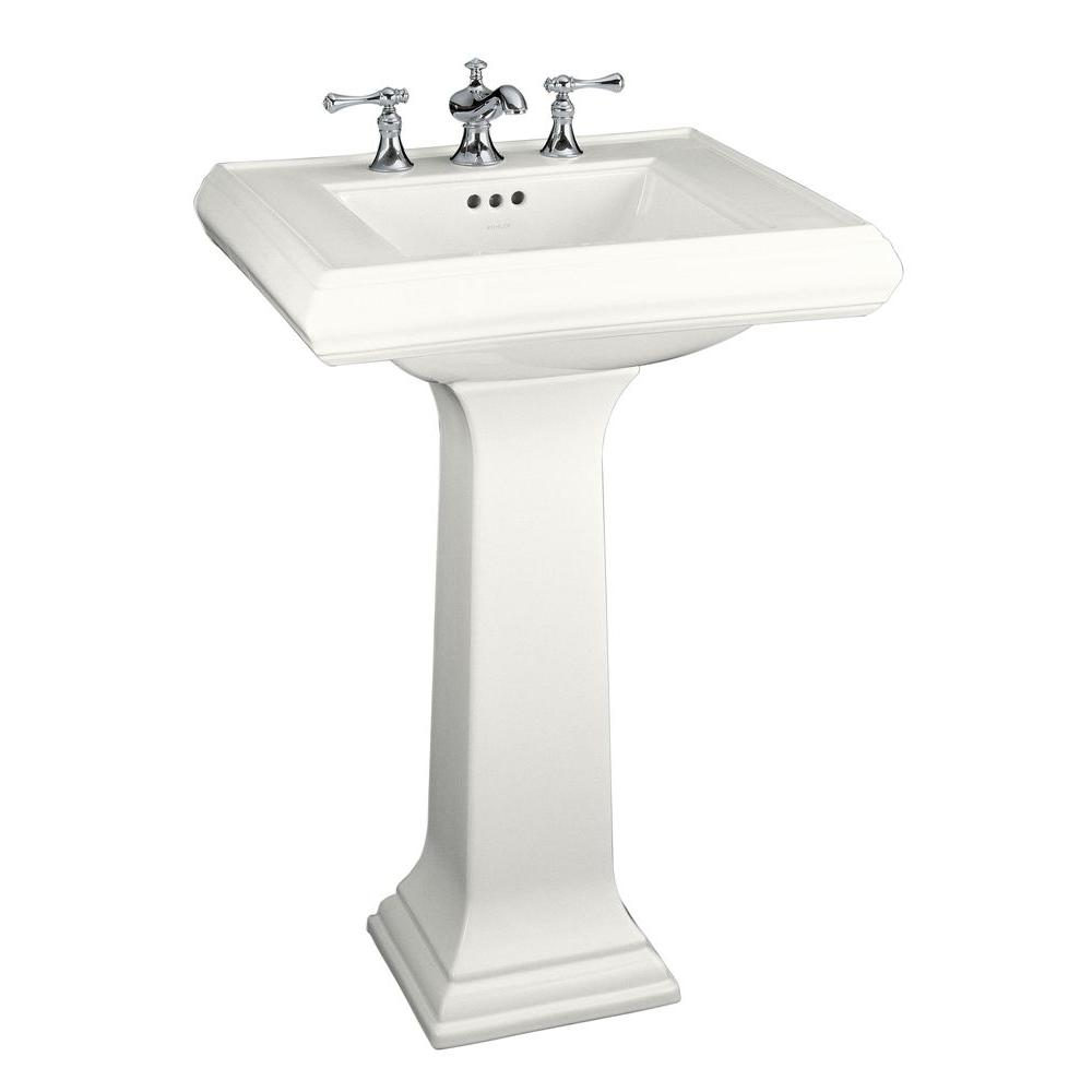 Kohler Memoirs Clic Ceramic Pedestal Combo Bathroom Sink In White With Overflow Drain