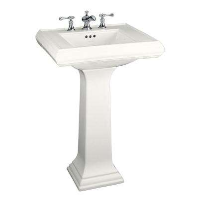 Memoirs Classic Ceramic Pedestal Combo Bathroom Sink in White with Overflow Drain