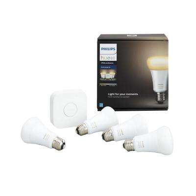 White Ambiance A19 LED 60W Equivalent Dimmable Smart Wireless Light Bulb Starter Kit (4 Bulbs and Bridge)