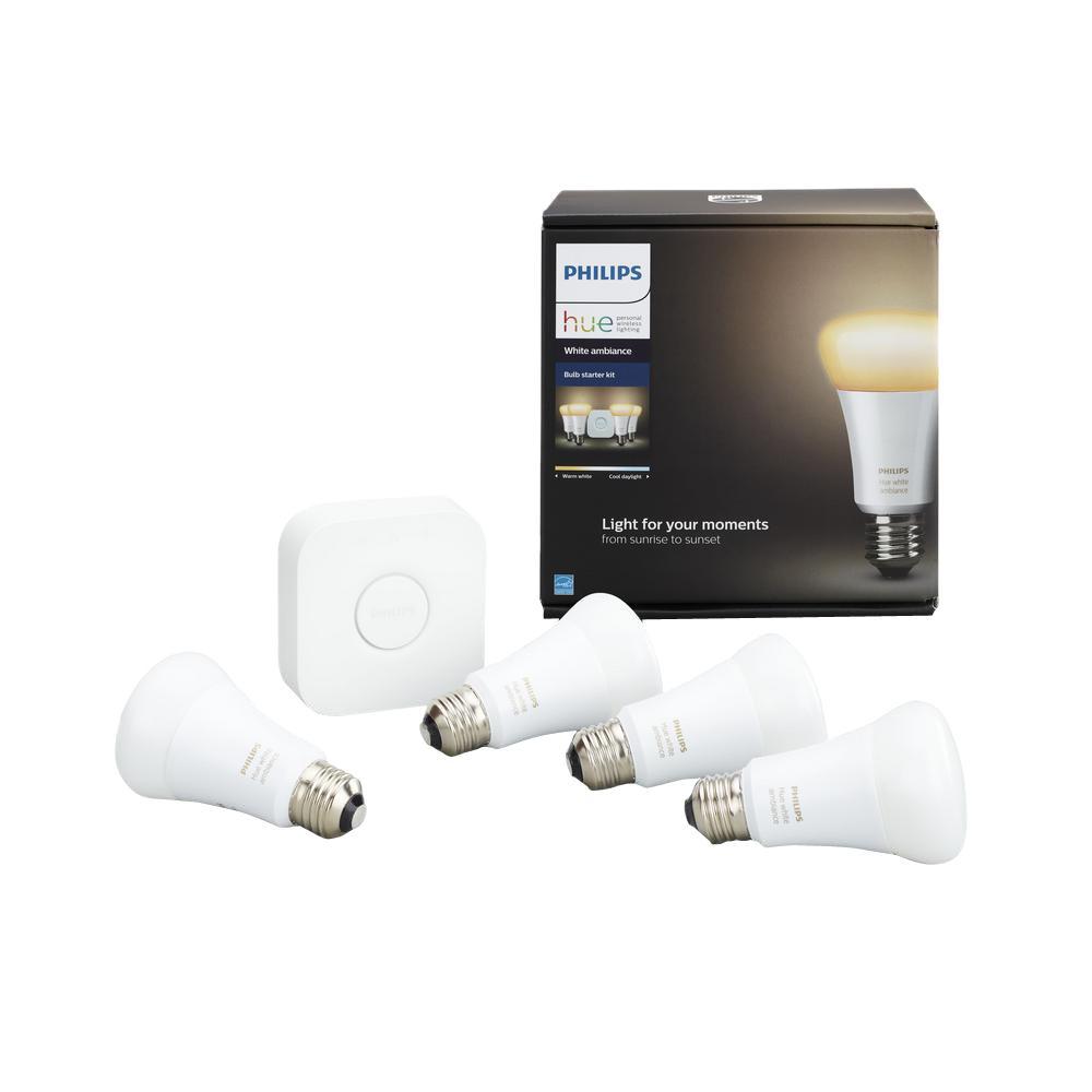 60-Watt Equivalent A19 Dimmable Hue White Ambiance Smart Wireless LED Light Bulb Starter Kit (4-Pack)