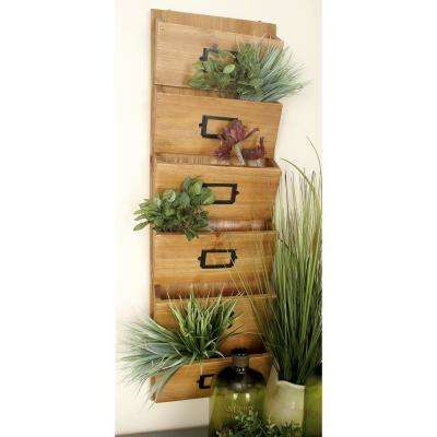 12 in. W x 36 in. H Firwood 6-Tiered Wall-Mounted Letter Holder Rack in Cherrywood Brown with Black Iron Card Frames