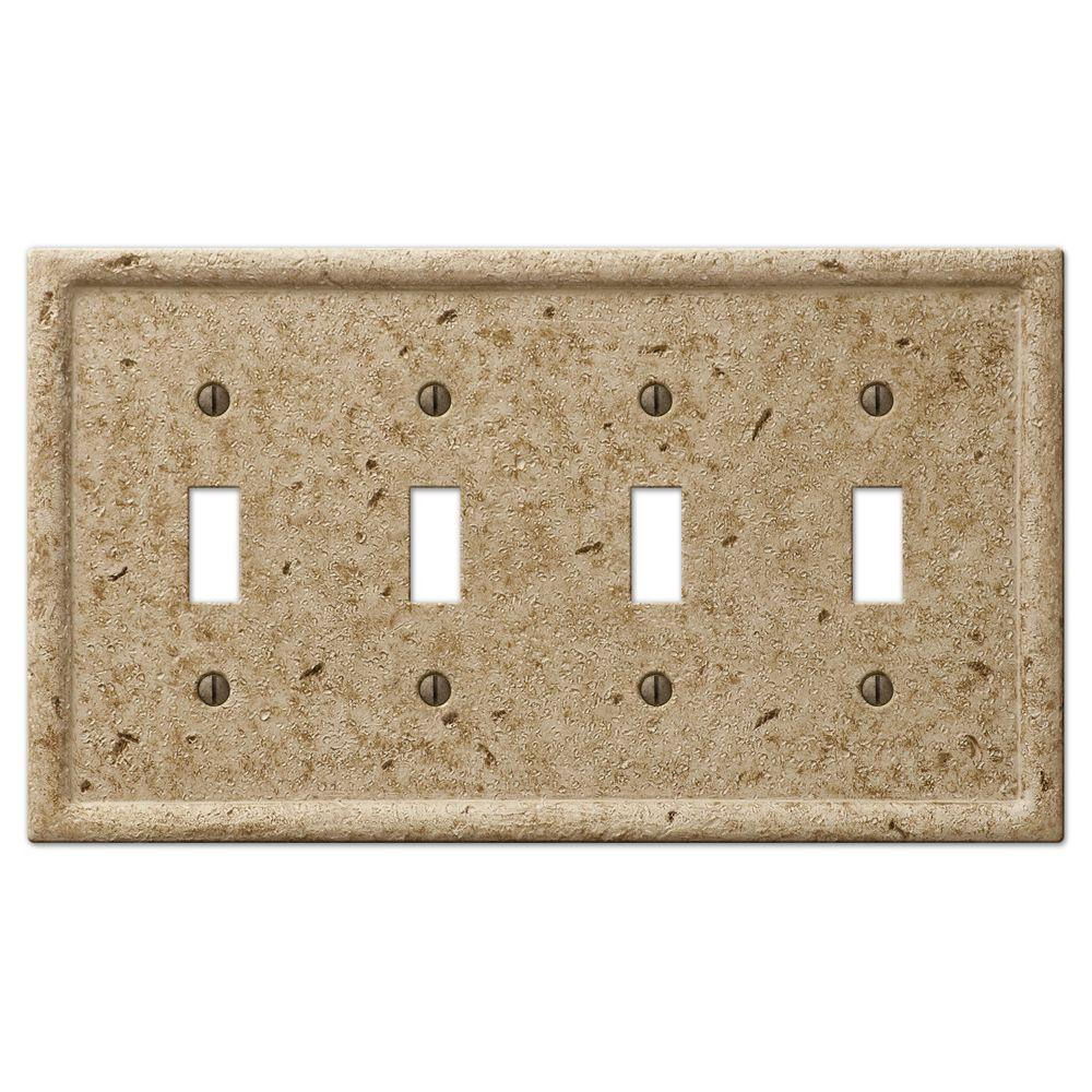 Creative Accents 4 Gang Stone Toggle Wall Plate
