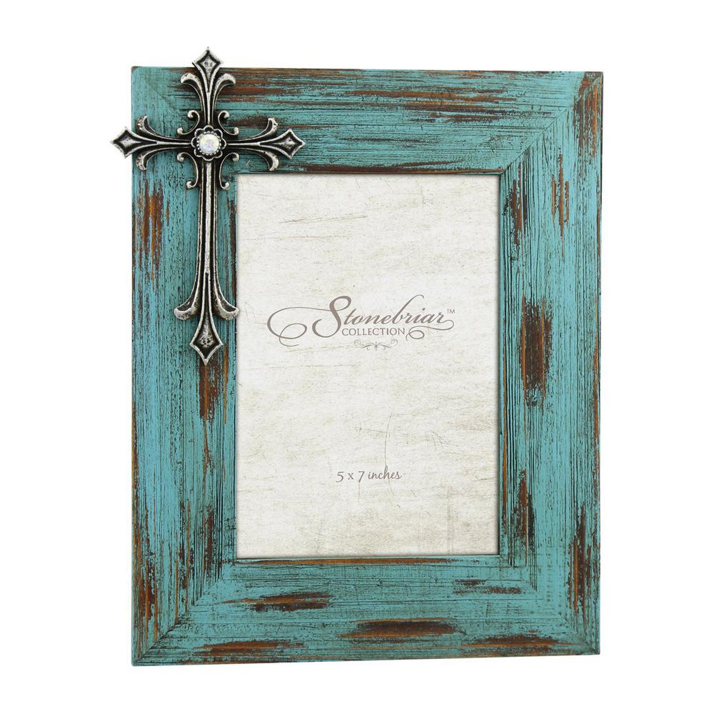Stonebriar Collection 5 in. x 7 in. Weathered Blue and Pewter 3D ...