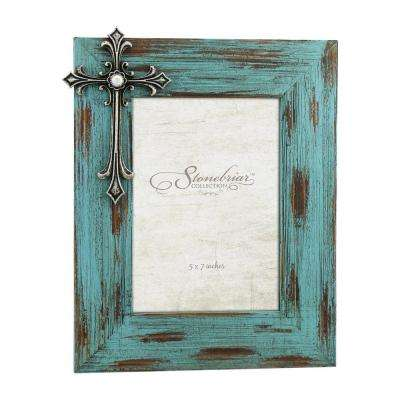 5 in. x 7 in. Weathered Blue and Pewter 3D Cross with Jewel Picture Frame