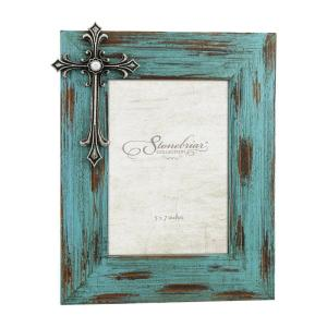 Stonebriar Collection 5 inch x 7 inch Weathered Blue and Pewter 3D Cross with Jewel... by Stonebriar Collection