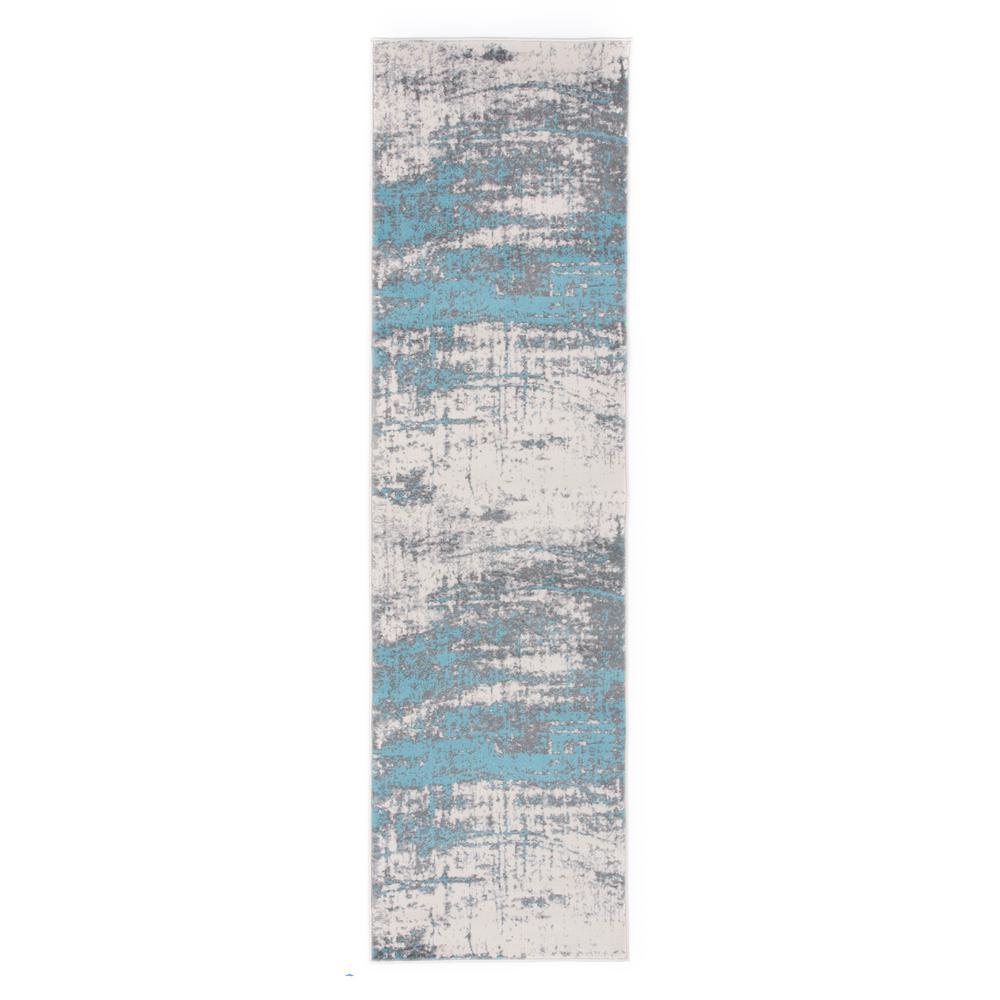 Distressed Modern Abstract Design 2 ft. x 7 ft. Blue Runner Rug