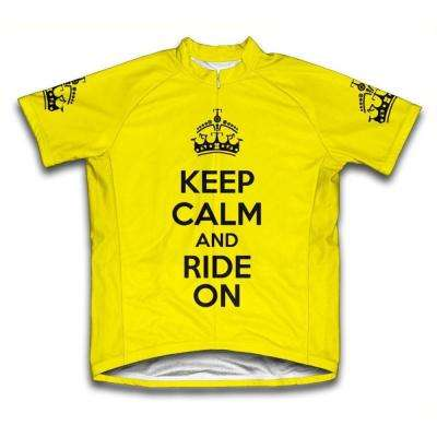 Large Yellow Keep Calm and Ride on Microfiber Short-Sleeved Cycling Jersey