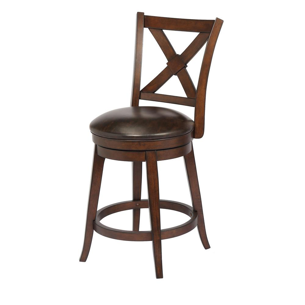 Craft Main Bailey 24 In Walnut Counter Height Swivel Bar Stool