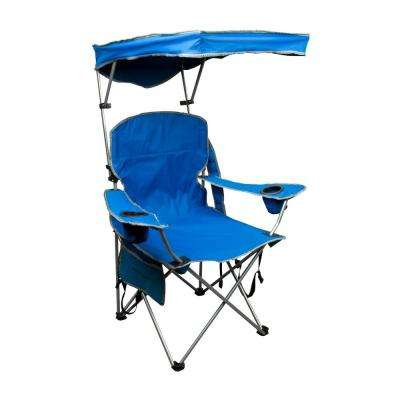 Royal Blue Patio Folding Chair with Sun Shade
