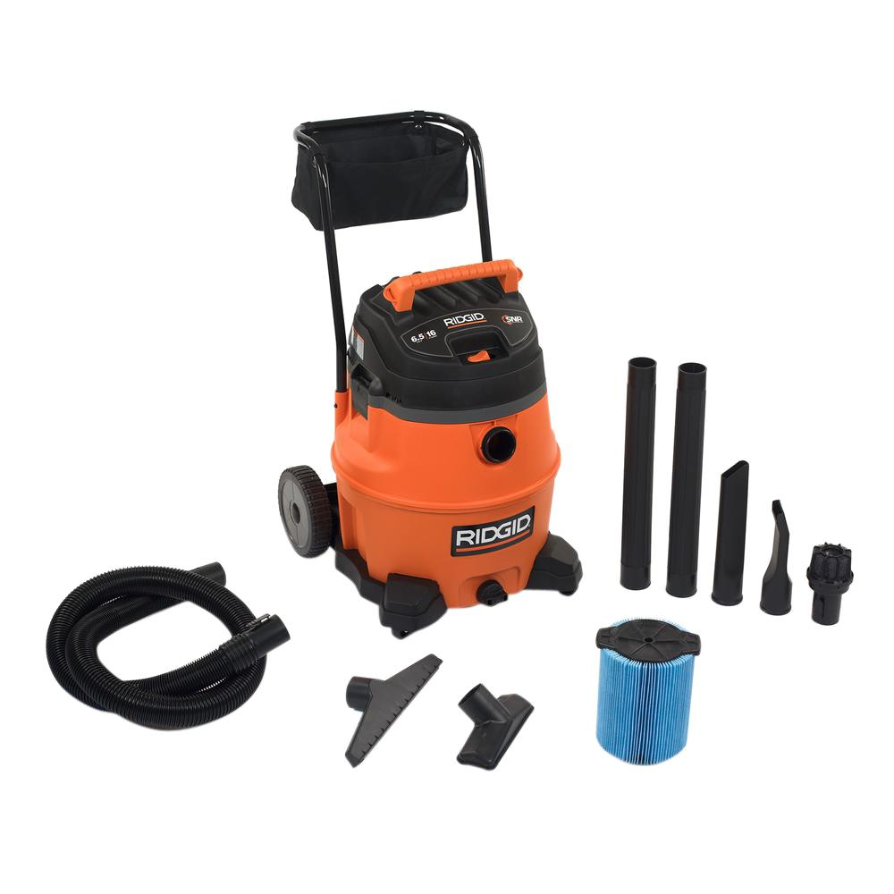Ridgid 16 Gal 6 5 Peak Hp Wet Dry Vac Wd1851 The Home Depot