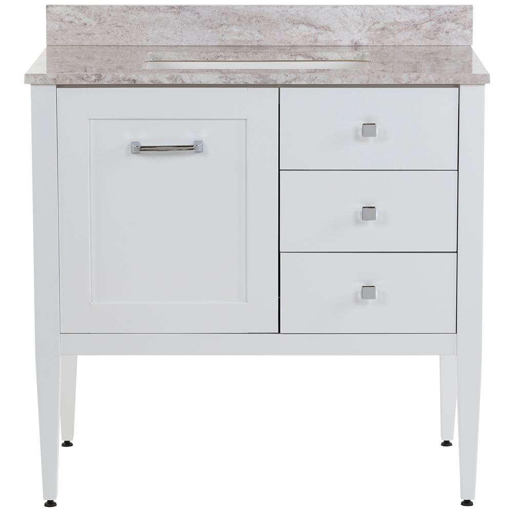 MOEN Hensley 37 in. W x 22 in. D Bath Vanity in White with Stone Effects Vanity Top in Winter Mist with White Sink