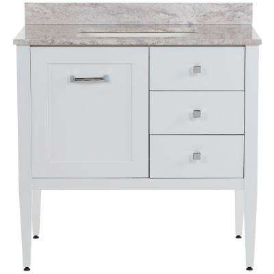Hensley 37 in. W x 22 in. D Bath Vanity in White with Stone Effects Vanity Top in Winter Mist with White Basin