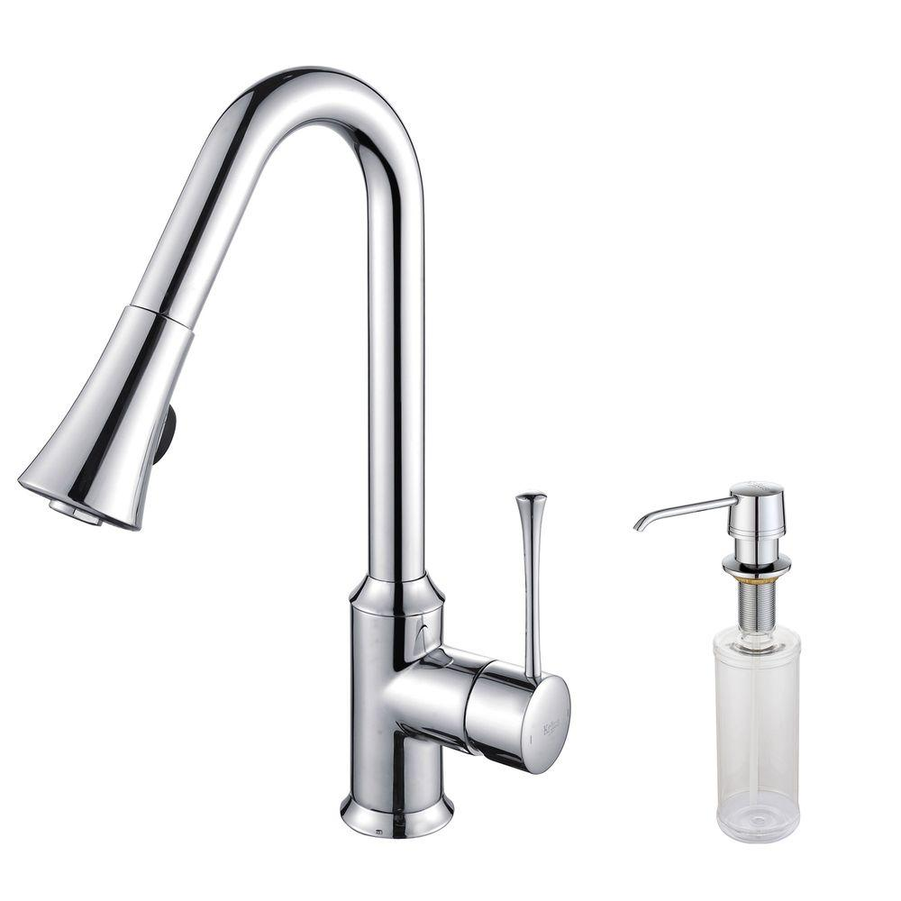 KRAUS Single Lever Mid-Arc Pull-Out Kitchen Faucet and Dispenser in Chrome-DISCONTINUED