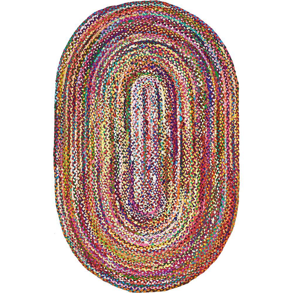 Braided Chindi Multi 5' x 8' Oval Rug