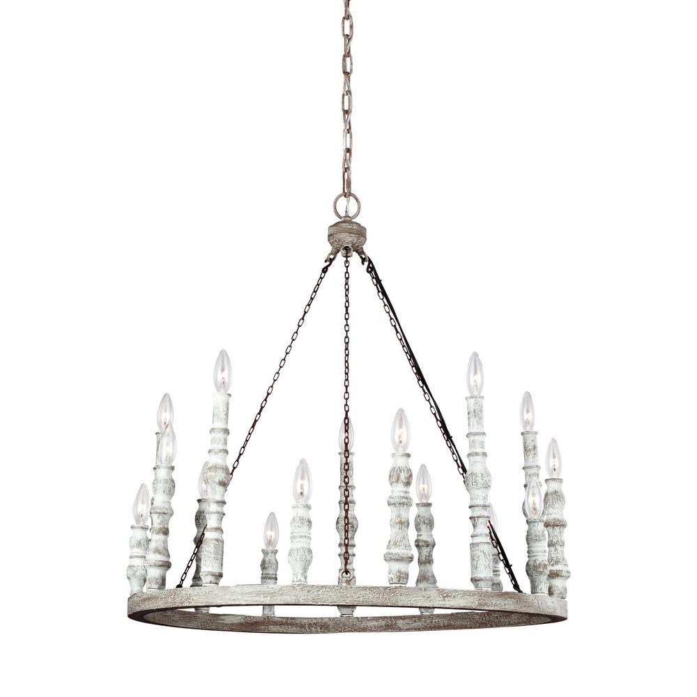 Feiss Norridge 15-Light Distressed White Chandelier
