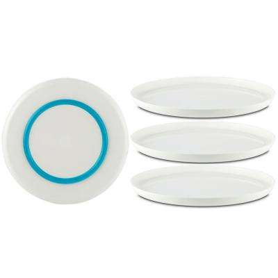 10 in. White Palm Non-slip Dinner Plate with Vivid-Blue Base (Set of 4)