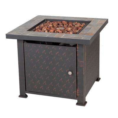Penbrook 30 in. x 24 in. Square Steel Propane Fire Pit Table in Stone with Lava Rock