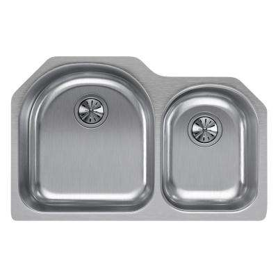 Lustertone Undermount Stainless Steel 31 in. 40/60 Double Bowl Kitchen Sink - Right Configuration