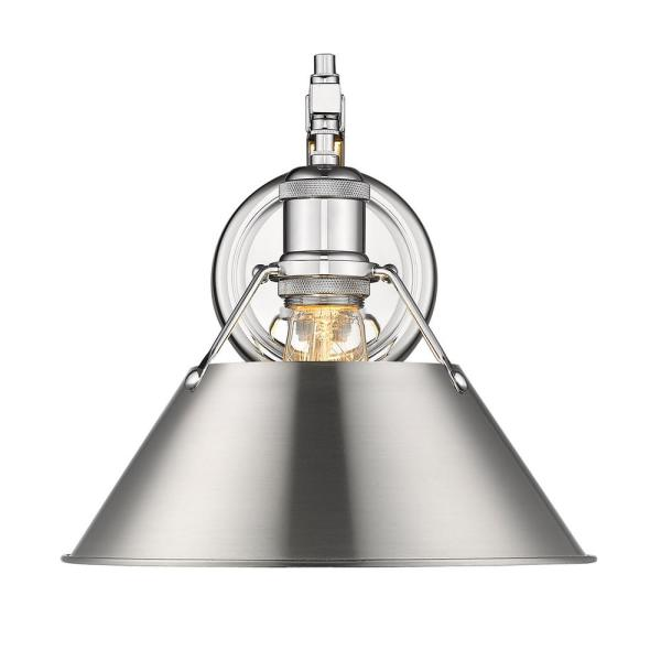 Orwell CH 1-Light Wall Sconce in Chrome with Pewter Shade