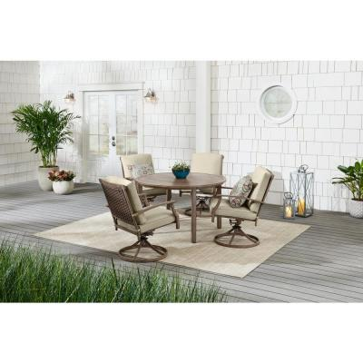 Geneva 5-Piece Brown Wicker Outdoor Patio Dining Set with CushionGuard Putty Tan Cushions