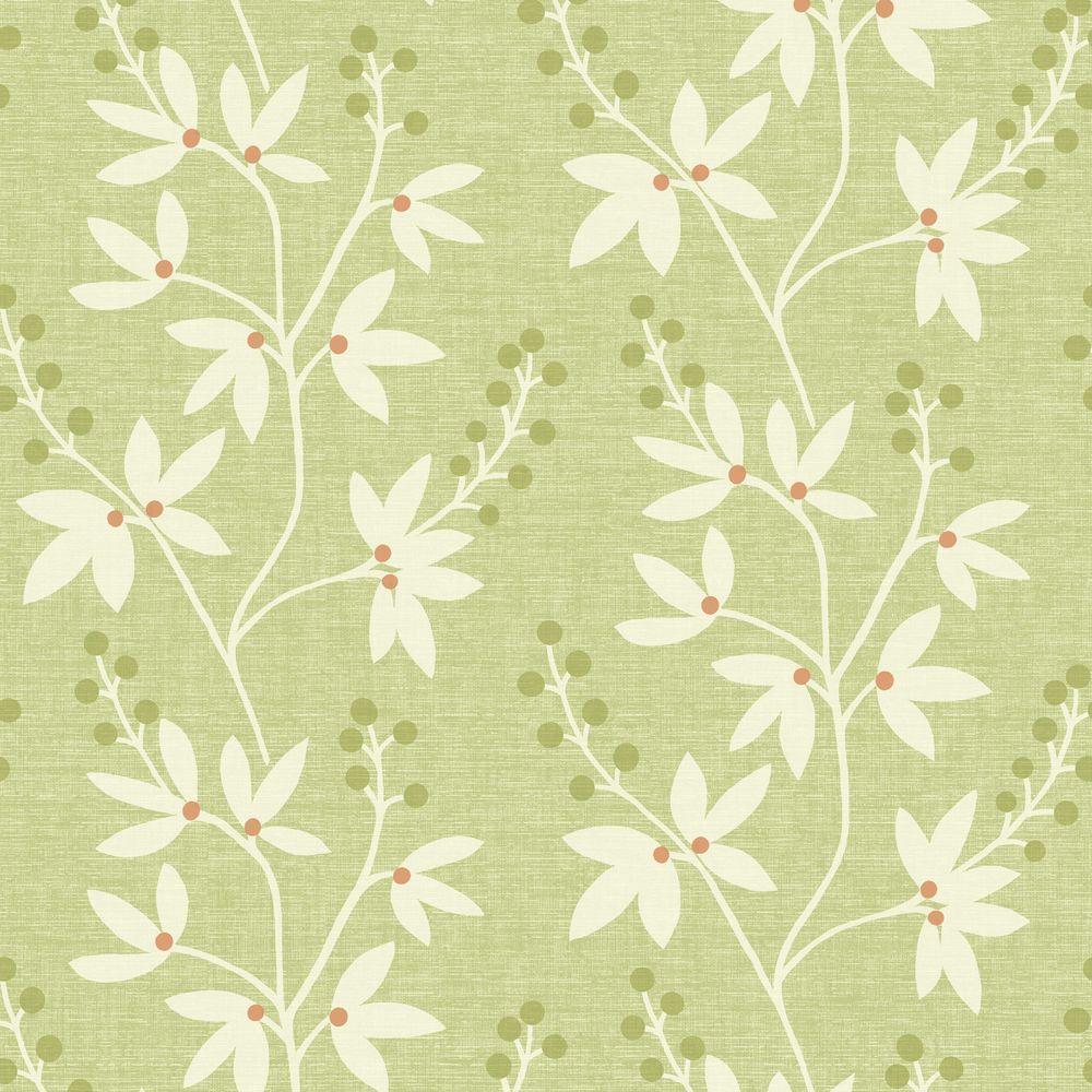 Beacon House Currant Green Botanical Trail Wallpaper