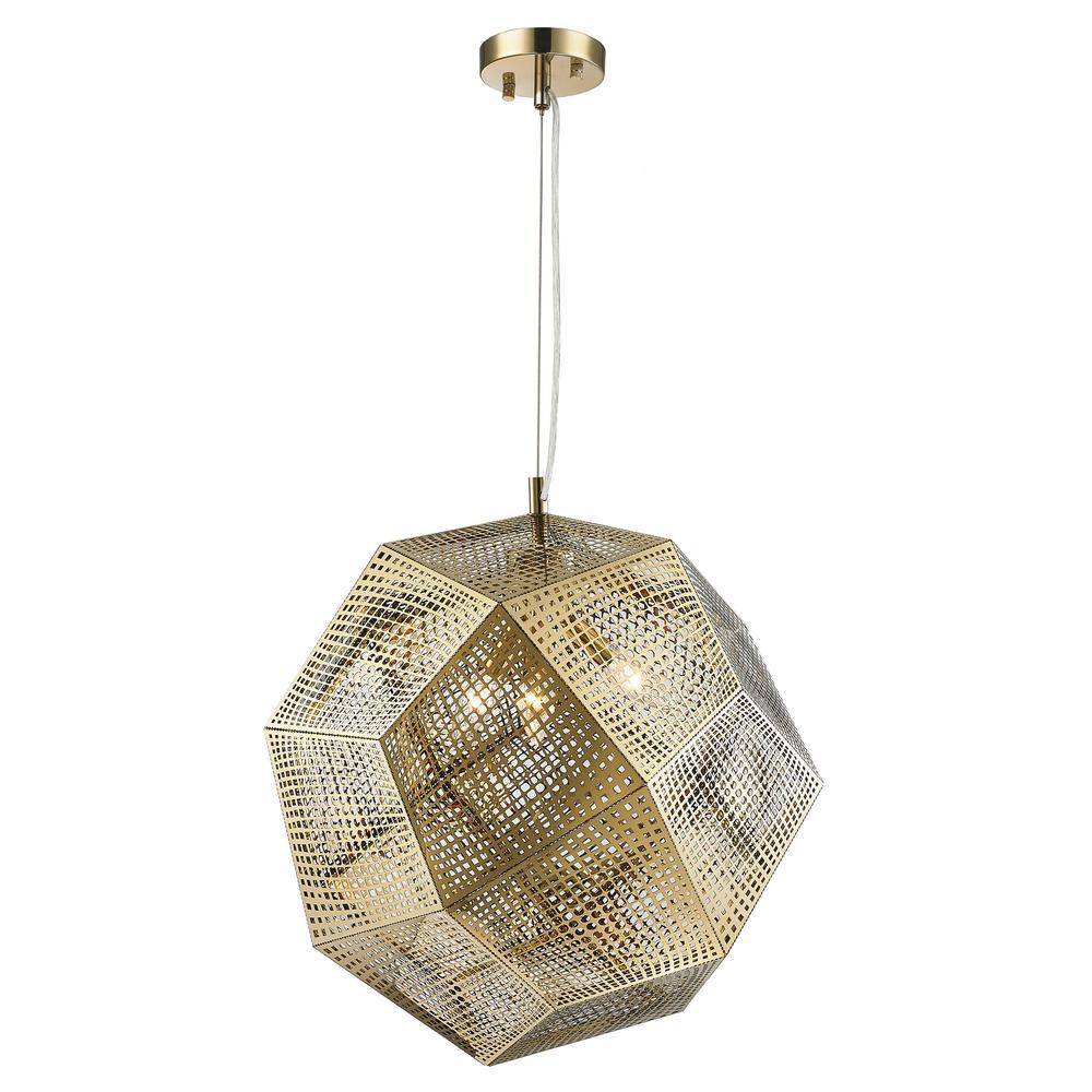 Worldwide Lighting Geometrics 3-Light Champagne Pendant