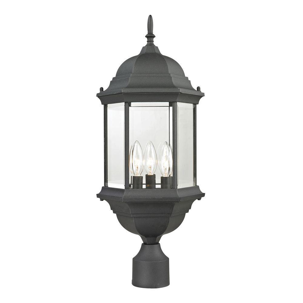 Spring Lake 3-Light Outdoor Matte Textured Black Post Lantern