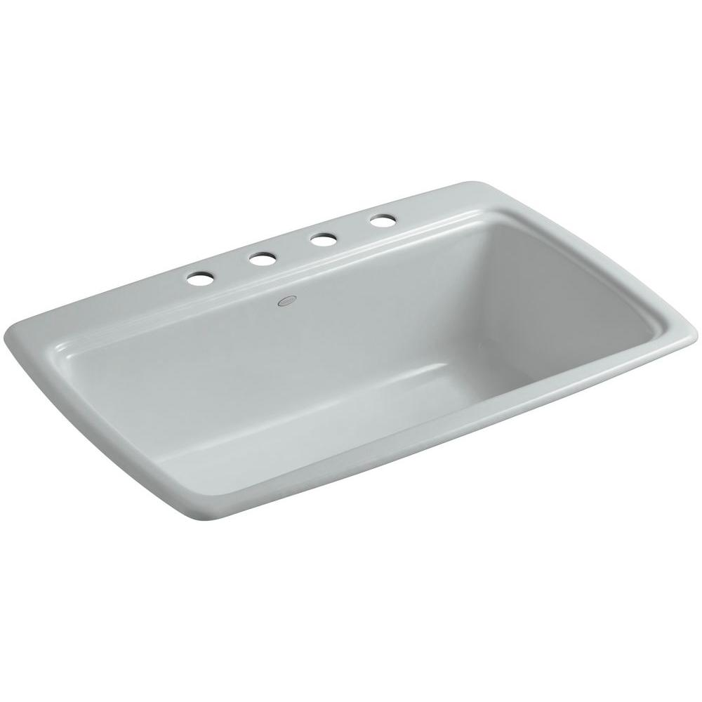 KOHLER Cape Dory Drop-In Cast-Iron 33 in. 4-Hole Single Basin Kitchen Sink in Ice Grey