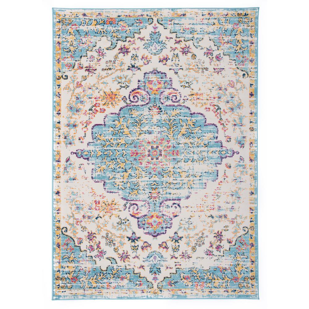World Rug Gallery Vintage Traditional Bohemian 5 ft. x 7 ft. Blue Area Rug