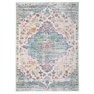 Vintage Traditional Bohemian 7 ft. 10 in. x 10 ft. Blue Area Rug