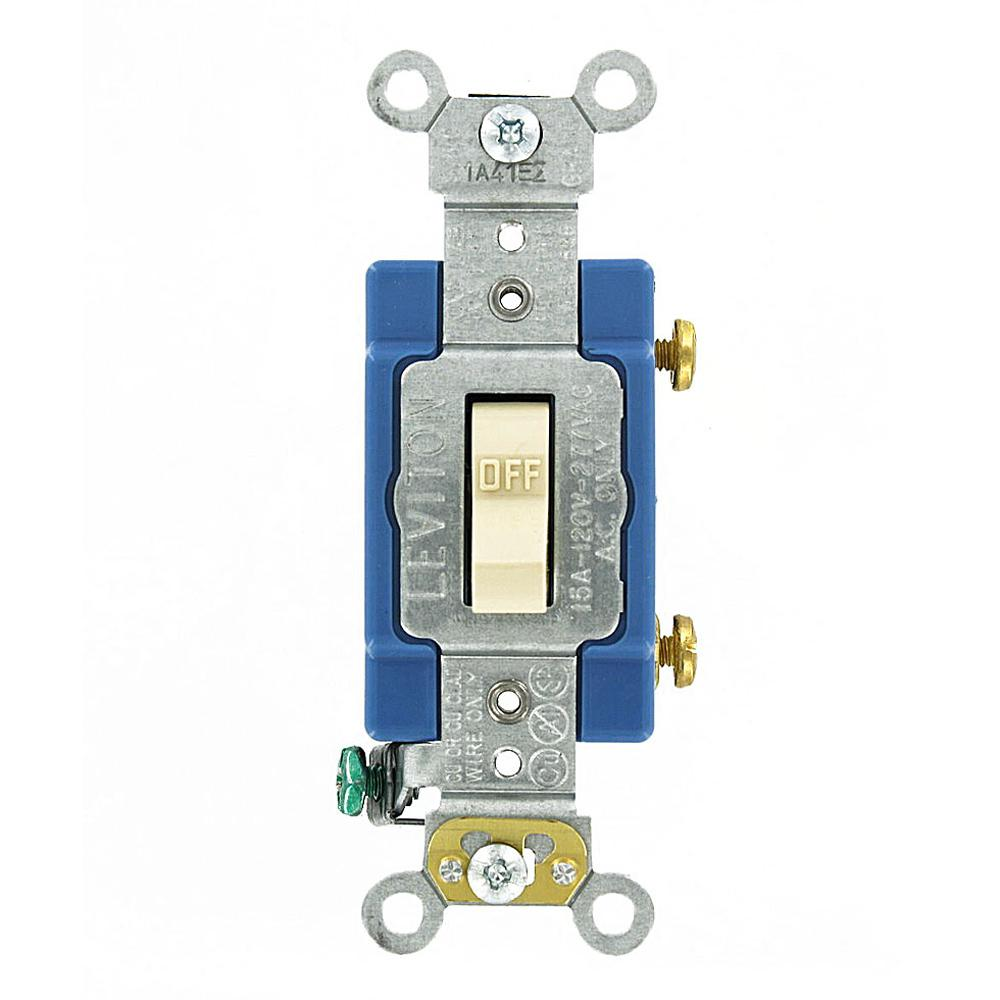 Leviton 15 Amp Industrial Grade Heavy Duty Single Pole Toggle Switch ...