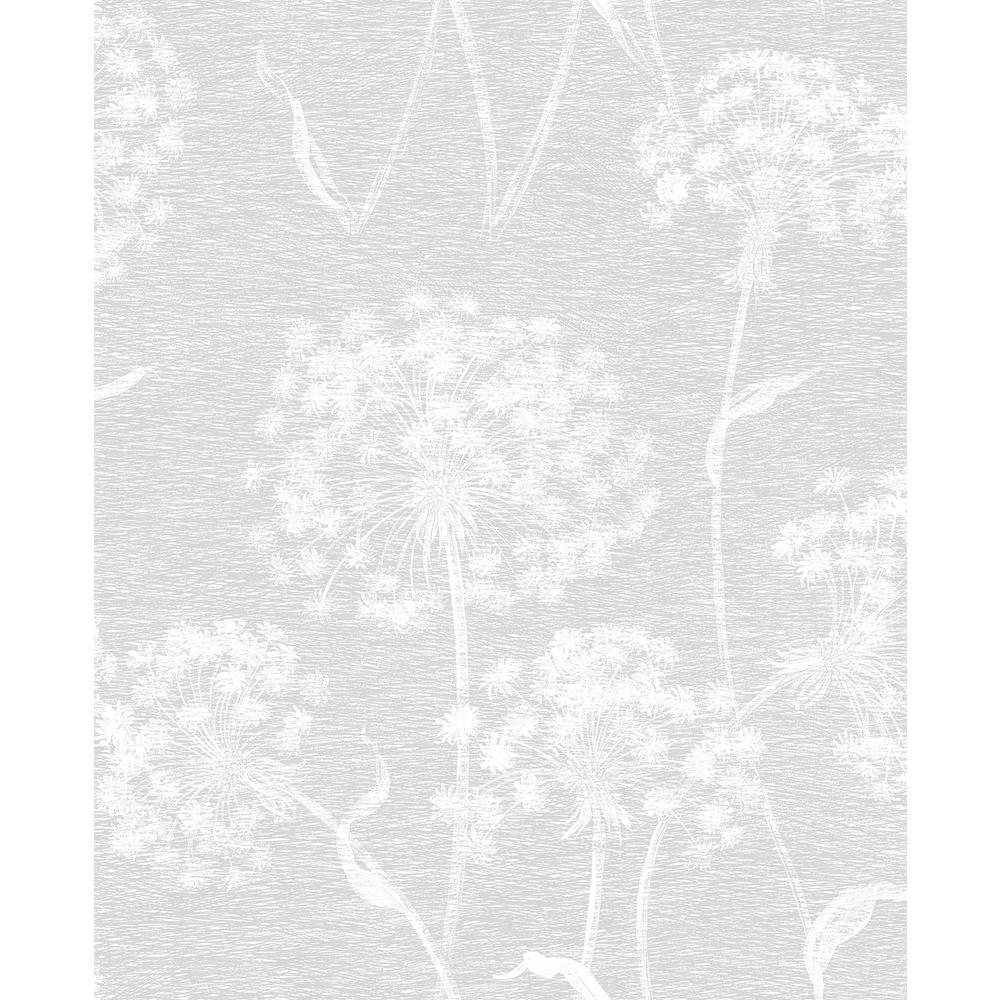 Garvey Light Grey Dandelion Light Grey Wallpaper Sample