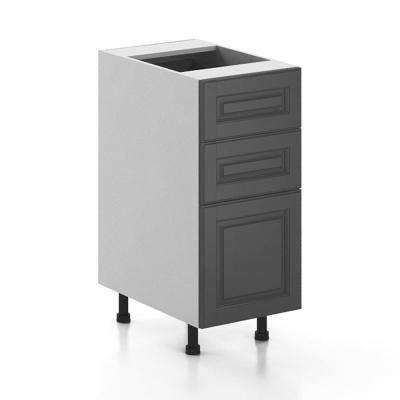 Ready to Assemble 15x34.5x24.5 in. Buckingham 3-Drawer Base Cabinet in White Melamine and Door in Gray