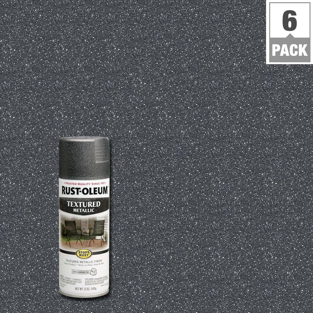 Rust Oleum Stops Rust 12 Oz Protective Enamel Excalibur Metallic Textured Spray Paint 6 Pack