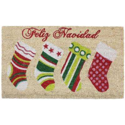 Feliz Navidad Stocking Vinyl Back Coco 18 in. x 30 in. Door Mat