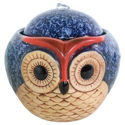 6 in. Ceramic Cascading Owl Indoor Tabletop Water Fountain