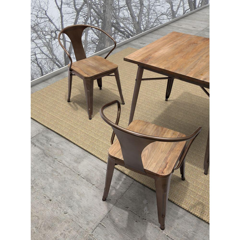 zuo helix dark brown wood and metal dining chair set of 2