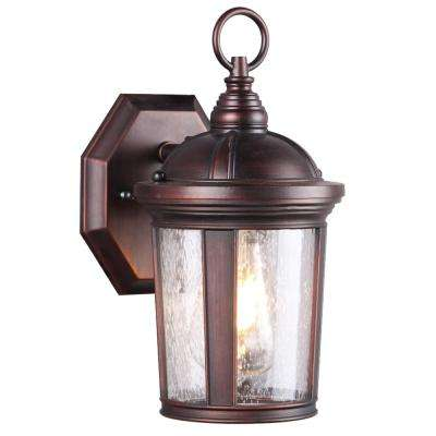 1-Light Bronze Seeded Glass Outdoor Wall Mount Sconce with LED Bulb