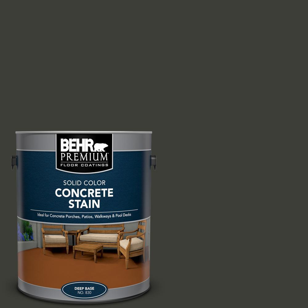 BEHR PREMIUM 1 gal. #PFC-75 Tar Black Solid Color Flat Interior/Exterior Concrete Stain
