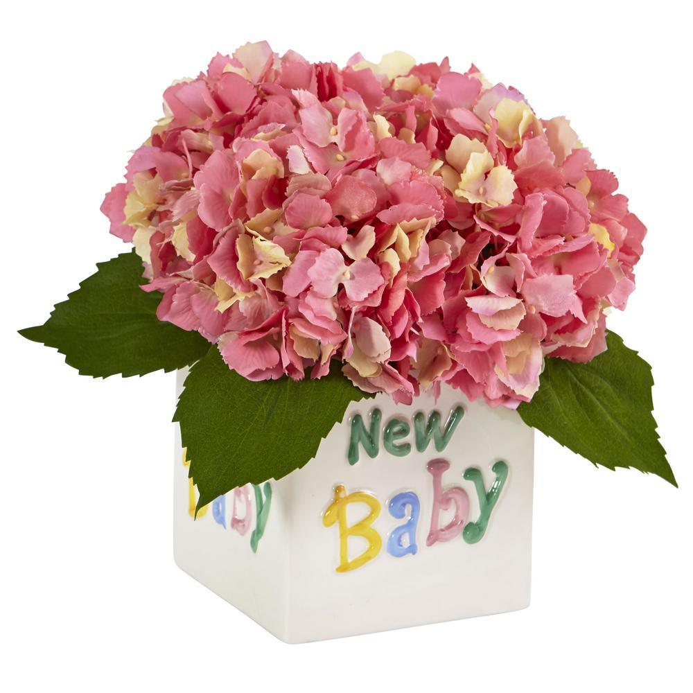 9.5 in. Hydrangea in New Baby Ceramic in Pink