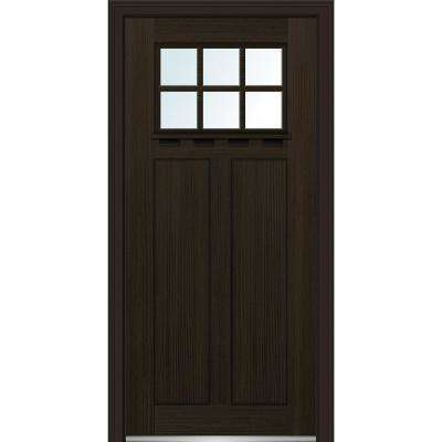 36 in. x 80 in. Left-Hand Inswing 6-Lite Clear 2-Panel Shaker Stained Fiberglass Fir Prehung Front Door with Shelf