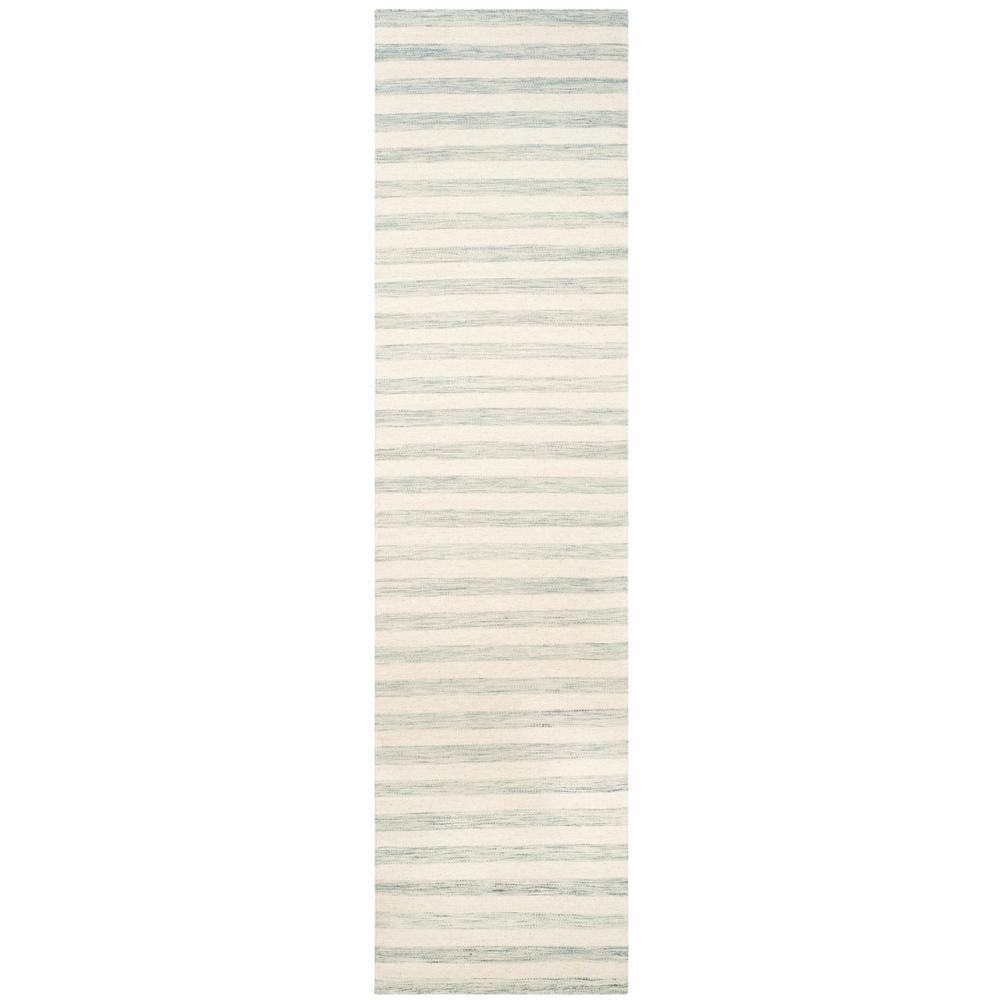 Dhurries Light Blue/Ivory 3 ft. x 10 ft. Runner Rug