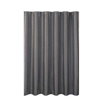 Jane Faux Silk 70 in. W x 72 in. L Shower Curtain with Metal Roller Hooks in Charcoal