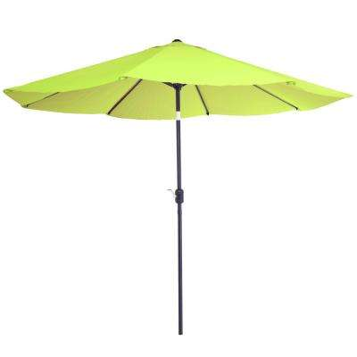 10 ft. Aluminum Patio Umbrella with Auto Tilt in Lime Green