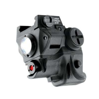 60-Lumen LED Light and Adjustable 5mW 635nm Red Laser Combo for Rail-Equipped Compact and Subcompact Pistols