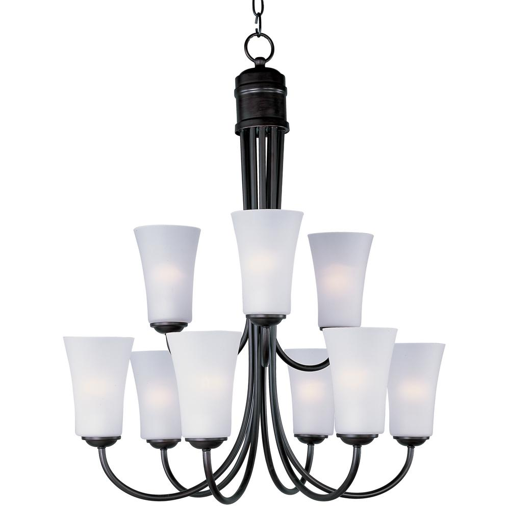 Logan 9-Light Oil Rubbed Bronze Chandelier with Frosted Shade
