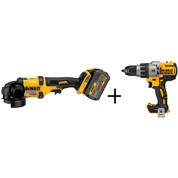 FLEXVOLT 60-Volt MAX Lithium-Ion Cordless Brushless 4-1/2 in. Angle Grinder with (2) Batteries and Bonus Drill/Driver