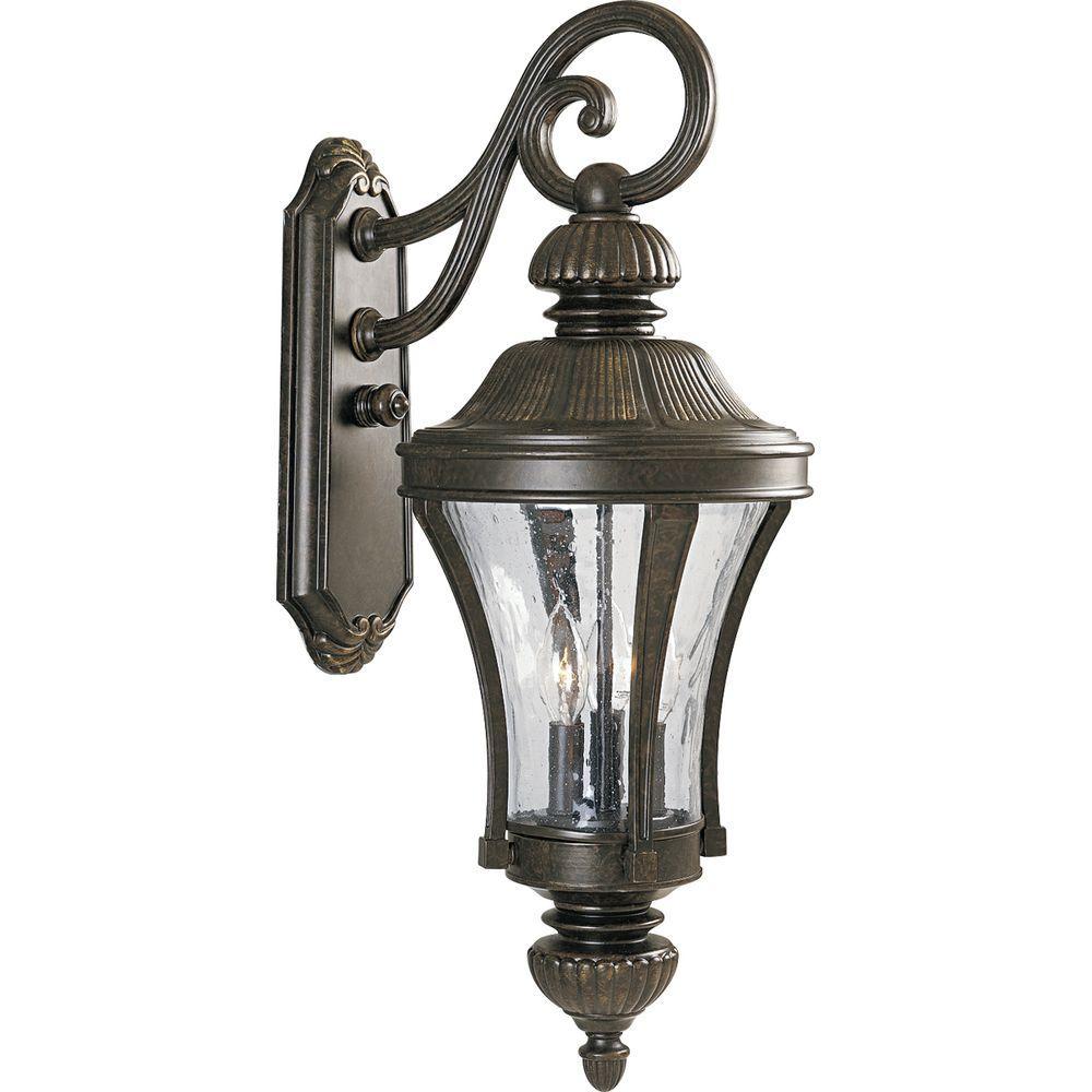 Progress Lighting Nottington Collection 3 Light Outdoor Forged Bronze Wall Lantern