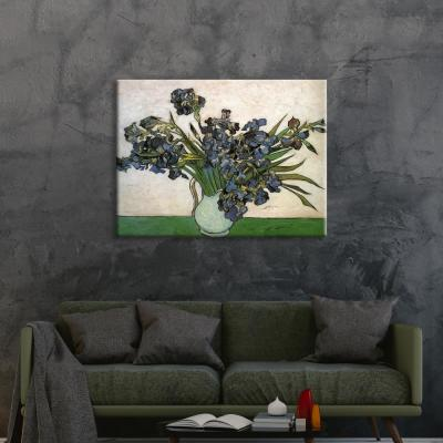"""""""Vase with Purple Irises"""" by Vincent van Gogh Unframed Canvas Wall Art"""